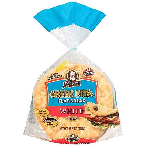 Greek Pita Flat Bread White, 6 ct (each bag) NON GMO Vegan Friendly 2 Bags