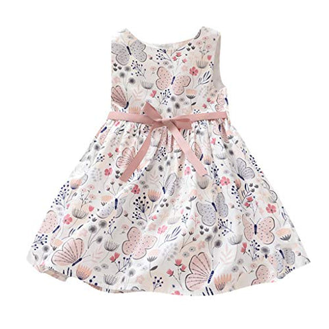 heavKin-Clothes 18M-6Y Baby Girls Summer Princess Dress Sleeveless Floral Print Sweet Style Knee-Length Skirt (Pink, 5-6 Years)