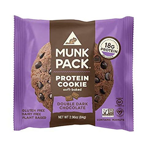 Munk Pack Double Dark Chocolate Protein Cookie With 16 Grams Of Protein | Soft Baked | Vegan | Glute