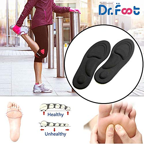 Dr. Foot's Arch Support Insoles, Help Against Plantar Fasciitis, Metatarsal and Heel Pain, Diabetic Anti-Sweat Foam Comfortable Insoles for Shock Absorption (M | 5~9 US Women's, Black)