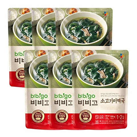 6 Packs of Korean Bibigo Pre-made Packaged Seaweed Soup 500g