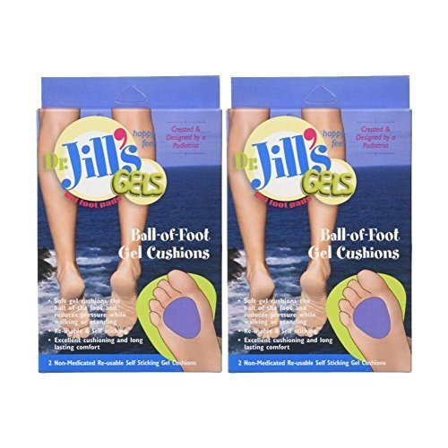 Dr. Jills Gel Ball of Foot Cushions (Self-Sticking and Re-Usable) (Pack of 2)