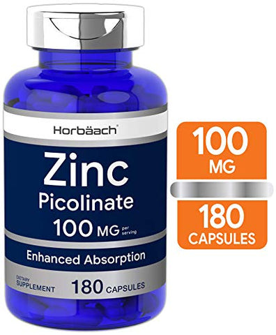 Horbaach Zinc Picolinate 100mg | 180 Capsules | High Potency | Non-GMO, Gluten Free | Zinc Supplement