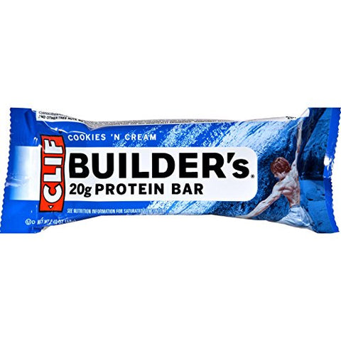 Cliff Bar Builder Bar, Cookies N Crm, 2.40-Ounce (Pack of 12)