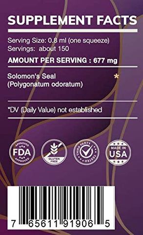 Earth's Love - Solomon's Seal Alcohol-Free Herbal Extract Tincture, Super-Concentrated Solomon's Seal (Polygonatum odoratum) Dried Root (4 Fl Oz)