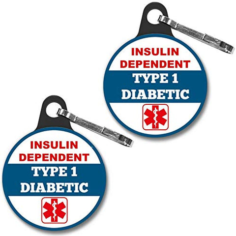 Insulin Dependent Type 1 DIABETIC Medical Alert Tag 2pcs Zipper Pull Charm 1.25