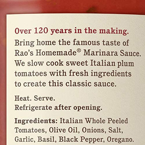 Rao's Homemade Marinara Sauce, 32 oz, All Purpose Tomato Sauce, Pasta Sauce, Carb Conscious, Keto Friendly, All Natural, Premium Quality, With Italian Tomatoes & Olive Oil