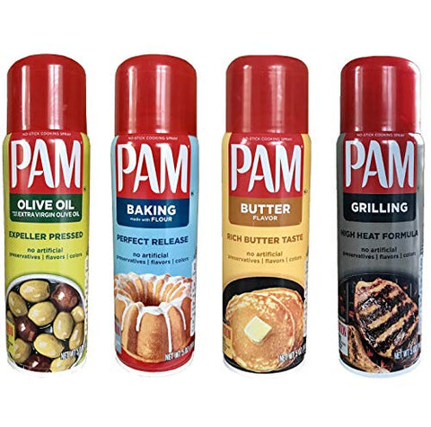 Pam No-Stick Cooking Spray Variety Set - Extra Virgin Olive Oil, Butter Flavor, Grilling, and Baking