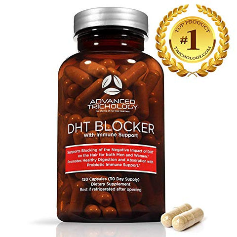 Advanced Trichology DHT Blocker with Immune Support - Hair Loss Supplements, High Potency Saw Palmetto, Green Tea & Probiotics, Gluten-Free, Vegetarian - 120-count Bottle - 90 Day Moneyback Guarantee