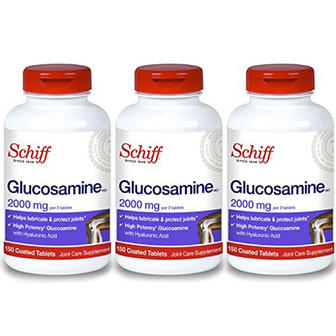 Schiff Glucosamine With Hyaluronic Acid, 2000mg Glucosamine, Joint Care Supplement Helps Lubricate &