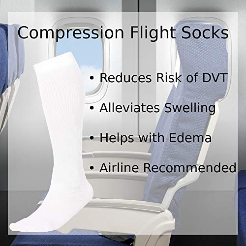 Made In The Usa â?? Microfiber Compression Travel Socks 15 20 Mm Hg (White, Medium)
