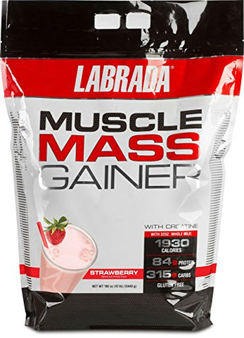 Labrada Nutrition Muscle Mass Gainer, Strawberry, 12 Pound