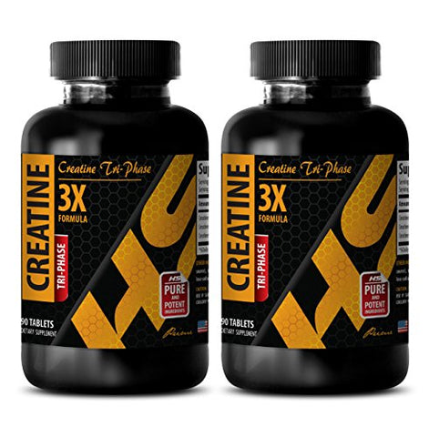 Increase Muscle Growth - CREATINE TRI-Phase (3X Formula) - Creatine 5000 Pills - 2 Bottles 180 Tablets