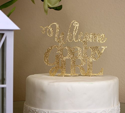 All About Details Gold Welcome Baby Girl Topper, 6 X 9