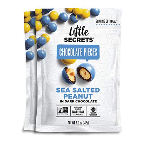 Little Secrets Chocolate Pieces, Sea Salted Peanut Flavor, All Natural, Non-GMO, Fair Trade Certified, Gourmet Dark Chocolate Candy, No Artificial Dyes, Healthy Snacks and Treats, (2 Pack)