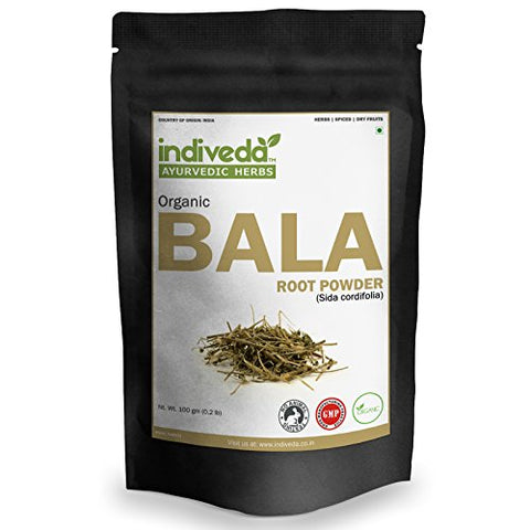Organic Natural Bala (SIDA Cordifolia | Country Mallow) Herbal Powder(5 X 100Grams)(Pack of 5, 100Grams Each) by Indiveda for Supporting Strengthening (Support Overall Body Energy)