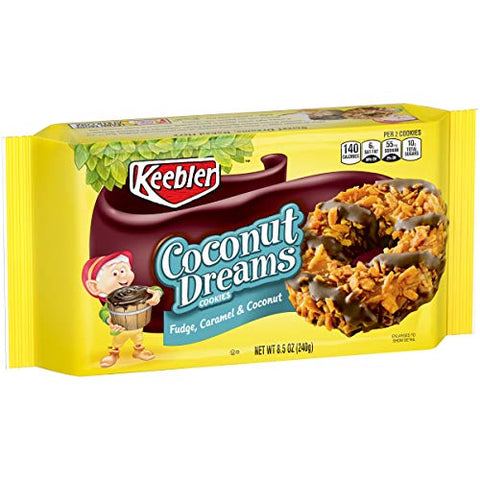 Keebler Coconut Dreams Cookies, Fudge, Caramel & Coconut, 8.5 Oz (2 count) (Pack of 4)