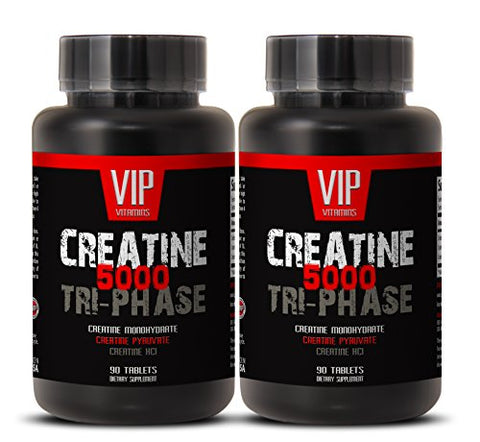 Premuim Blend of Creatines - Creatine Tri-Phase 5000mg, Creatine Monohydrate, Creatine HCL and Creatine Pyruvate (2 Bottles 180 Tablets)