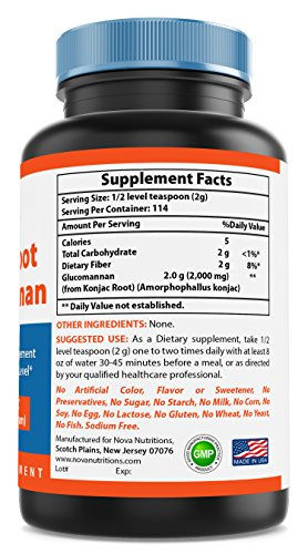 Nova Nutritions Konjac Root Glucomannan 100% Pure Powder - 8 oz