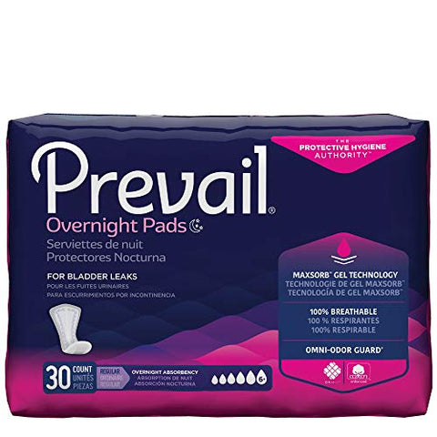 Prevail Overnight Absorbency Incontinence Bladder Control Pads, 30 Count