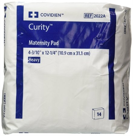 "Covidien Curity Maternity Pad Heavy 4.33"" x 12.25"" (Bag of 14 Pads)"