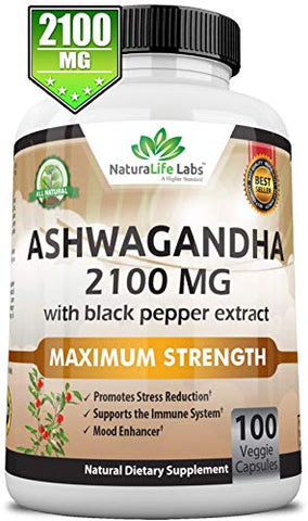 Organic Ashwagandha 2,100 mg - 100 Vegan Capsules Pure Organic Ashwagandha Powder and Root Extract - Natural Anxiety Relief, Mood Enhancer, Immune & Thyroid Support, Anti Anxiety