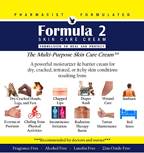 Formula 2 Skin Care Cream | For Very Dry Skin Resulting From Diabetic Dry Skin, Eczema, Psoriasis, Dermatitis, Rashes, Burns. For hands, feet, buttocks, and all over. Pharmacist Formulated.