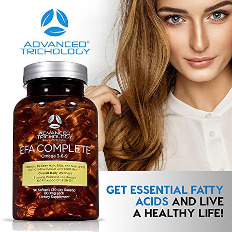 EFA Complete with Optimal Omega 3 6 9 Levels of High Potency Flax Oil, Fish Oil, Borage Oil, and Evening Primrose Oil 800mgs (90count) 3rd Party Tested - High in GLA and 369 Omegas