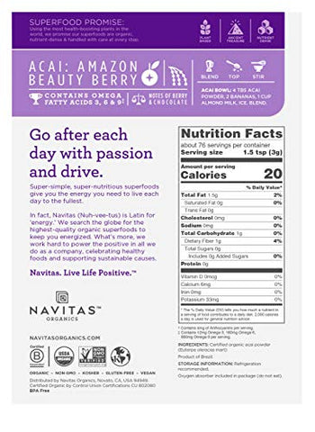 Navitas Organics Acai Powder, 8 oz. Bag - Organic, Non-GMO, Freeze-Dried, Gluten-Free