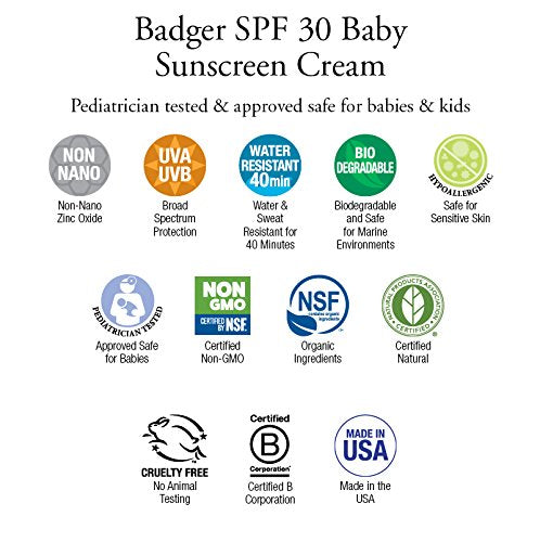 Badger   Baby Sunscreen Cream Broad Spectrum Spf 30 Protection, Chamomile And Calendula Formula  Tub