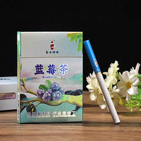 HUWOYMX Green Tea Herbal Cigarettes Peony Tea Smoke, Chinese Herbal Cigarettes Smoke-Free and Nicotine-Free, Cigarette Substitutes That Can Clean The Lungs (10 Packs,Blueberry)