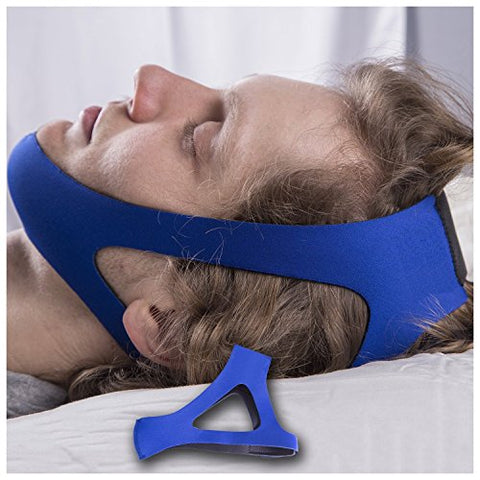 SleepWell Pro Adjustable Stop Snoring Chin Strap (Blue)