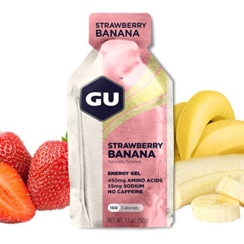GU Energy Original Sports Nutrition Energy Gel, Strawberry Banana, 24 Count Box