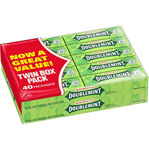 Wrigley's Doublemint Chewing Gum, 5 Count (40 Packs)