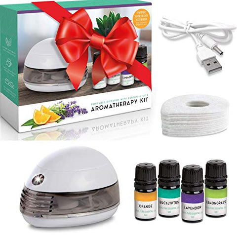 Mini Portable Oil Diffuser White Small Set - Cute Portable Desk USB Essential Oil Diffuser Small Battery Operated Kit Includes Pure Orange, Lavender, Eucalyptus and Lemongrass Oils
