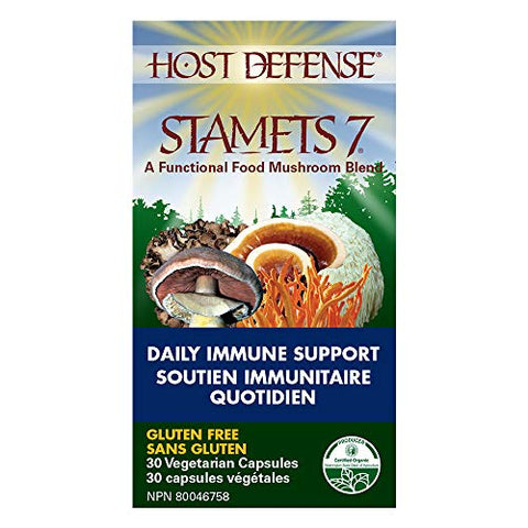 Host Defense - Stamets 7 Multi Mushroom Capsules, Supports Overall Immunity by Promoting Respiration and Digestion with Lion's Mane, Reishi, and Cordyceps, Non-GMO, Vegan, Organic, 30 Count