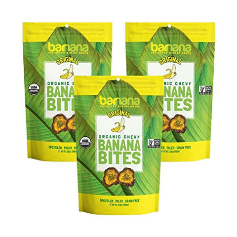 Barnana Organic Chewy Banana Bites - Original - 3.5 Ounce, 3 Pack Bites - Delicious Potassium Rich Banana Snacks - Lunch Dinner Sports Hiking Natural Snack - Whole 30, Paleo, Vegan, Packaging May Vary