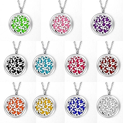 Housweety Aromatherapy Essential Oil Diffuser Necklace Stainless Steel Locket Pendant,11 Refill Pads