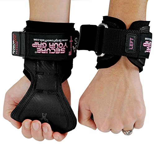 Cobra Grips FIT FOR LADIES! Weight Lifting Gloves Heavy Duty Straps Alternative to Power Lifting Hooks For Deadlifts With Built in Adjustable Neoprene Padded Wrist Wrap Support. (Women Black Rubber)