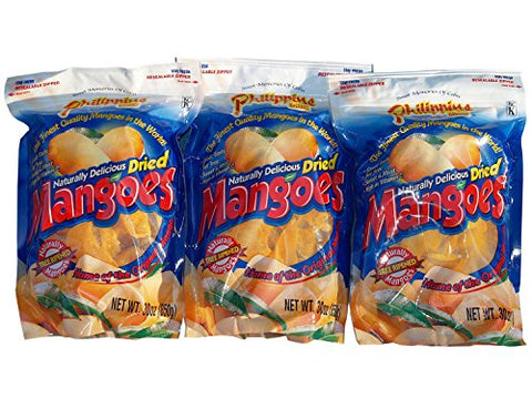 Philippine Brand Naturally Delicious Dried Mangoes Tree Ripened 30 Ounces - Pack of 3