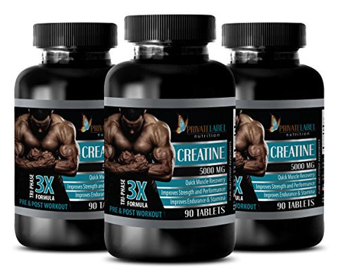 Muscle gain for Women - CREATINE TRI-Phase - 3X Formula - PRE & Post Workout - creatine Pills - 3 Bottles (270 Tablets)