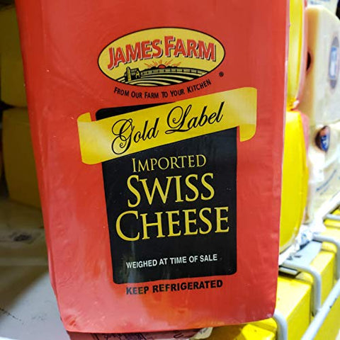 James Farm Gold Label Imported Swiss Cheese ~6.5 lbs