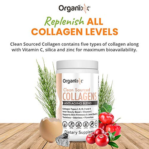 Organixx - Clean Sourced Collagen Powder - Anti-Aging - Eases Joint Pain - Speeds Up Metabolism - Keto and Paleo Friendly - Flavorless -Contains 5 Types of Collagen (30 Servings)