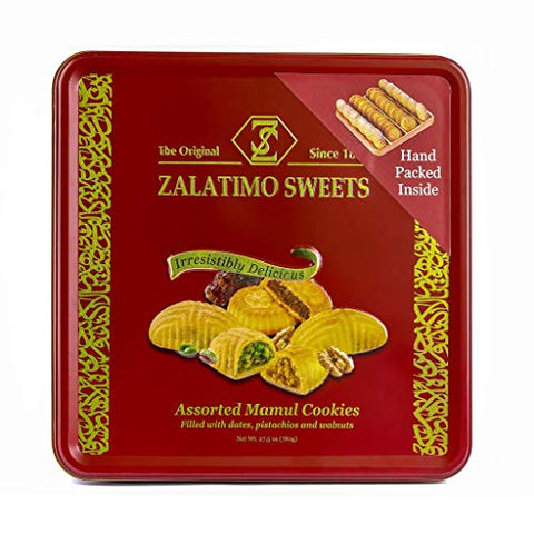 Zalatimo Sweets Since 1860, Assorted Mamoul Square Gift Tin Shortbread Biscuits, 100% All-Natural, Pistachio, Walnuts, Dates, No Preservatives, No Additives, 1.7 LB