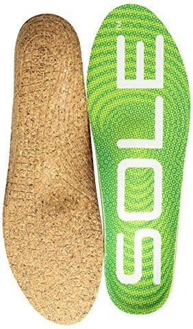 Sole Active Medium Footbed Insoles For Men And Women With Met Pad (Cork), Green, M8/W10