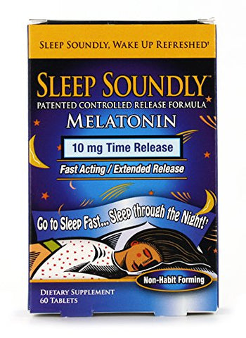 Sleep Soundly Melatonin 10mg, Fast Acting, Extended Release Sleep Formula, 60 servings