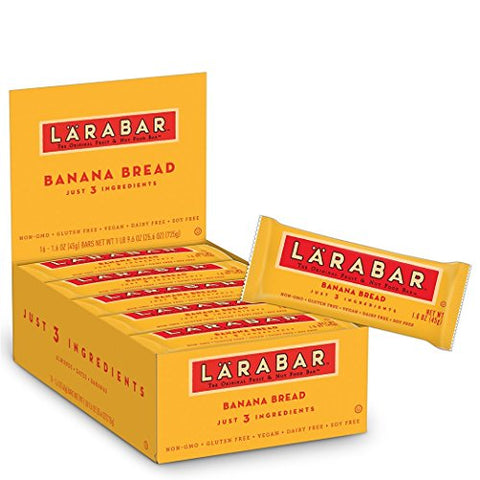 Larabar Gluten Free Bar, Banana Bread, 1.8 oz Bars (16 Count), Whole Food Gluten Free Bars, Dairy Free Snacks