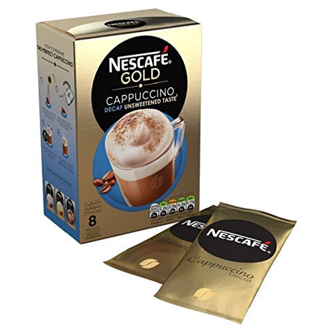Nescafe Cappuccino Decaff Unsweetened Nescafe Decaffeinated Cappuccino Unsweetened Coffee Sachets Imported From The UK England British Instant Coffee