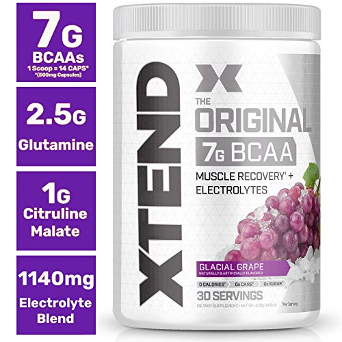 Scivation Xtend Original Bcaa Powder Glacial Grape, Sugar Free Post Workout Muscle Recovery Drink Wi
