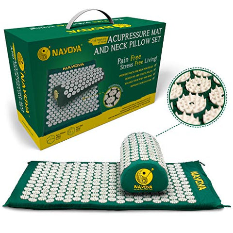 Nayoya Back and Neck Pain Relief - Acupressure Mat and Pillow Set - Relieves Stress, Back, Neck, and Sciatic Pain - Comes in a Carry Case for Storage and Travel - As Seen in USA Today
